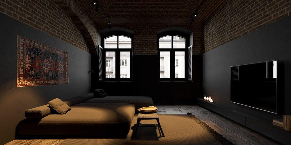 Спальня черного цвета в восточном стиле с акцентами в виде аутентичного североафриканского ковра на стене, открытого камина и света