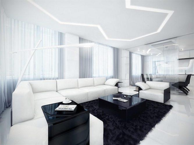 Чёрно-белый интерьер гостиной