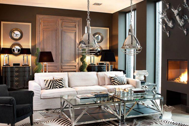 Металлические элементы в дизайне гостиной