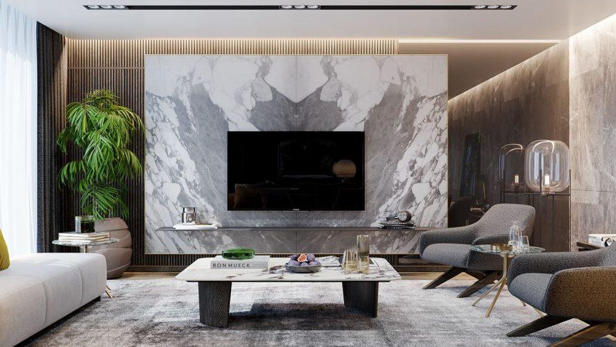 Стилизация под мрамор в дизайне гостиной