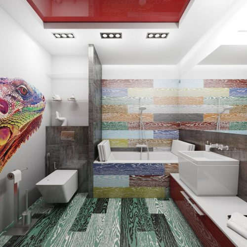 Цветная плитка в ванной
