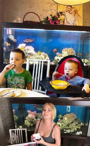 Сыновья Дарьи и Сергей Пынзарь на кухне